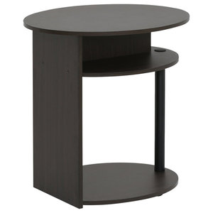 Modern Side End Table, Walnut Finished Composite Wood With Open Shelf