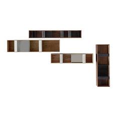 T Box Walnut Upper Cabinets Horizontal, Small