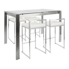 LumiSource Fuji 5-Piece Counter Height Dining Set, Stainless Steel and White