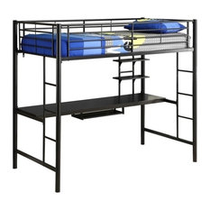 Pemberly Row Metal Twin Workstation Loft Bunk Bed, Black