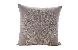 """Beige Cotton Linen 26""""x26"""" Beaded Oyster Euro Pillow Shams, Scallop Shell"""