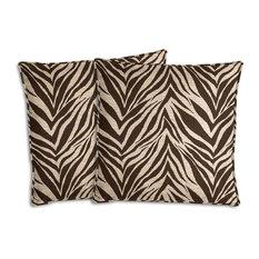 Brown and Beige Zebra Outdoor Pillow Set