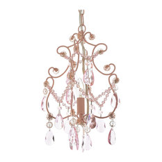 Wrought Iron and Crystal Chandelier Pendant 1-Light, Pink