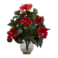 50 most popular tropical artificial flowers for 2018 houzz nearly natural inc nearly natural home accent hibiscus with fluted vase silk flower mightylinksfo