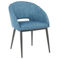 Renee Contemporary Chair, Blue Fabric