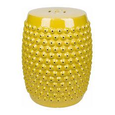 Abbyson Living Sophia Pierced Ceramic Garden Stool, Yellow