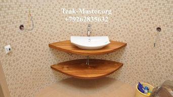 Тиковая столешница в ванной комнате на Ленинградском ш., от Тик-Мастер.