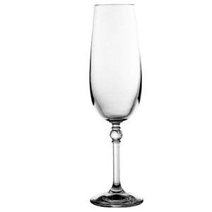 Clear Lead Crystal Champagne Flutes, Set of 6