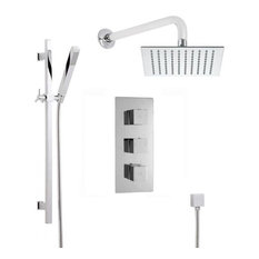 "Shower System With Triple Valve, 8"" Rain Head, Arm & Handshower In Chrome"