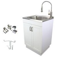 """Transolid 24"""" All-in-One Utility Sink Kit and Accessories, White/Stainless Steel"""