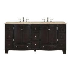 "72"" Dark Brown Double Sink Vanity With Travertine"