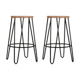 Hairpin Metal Kitchen Stool, Natural Wood, Black Steel, Small, Set of 2