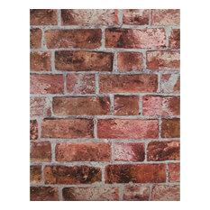 York Wallcoverings HE1044 Modern Rustic Brick Wallpaper Brick Red/Cement