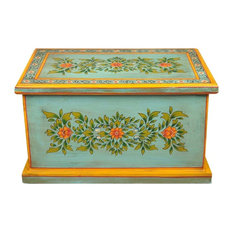 Green Floral Hand Painted Hardwood Coffee Table Chest