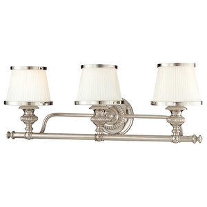 "Bathroom Vanity 3-Light With Polished Nickel Finish A19 Bulbs 25"", 300W"