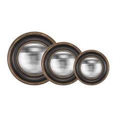 EMDE Convex Mirrors, Set of 3, Black