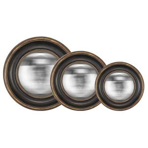 EMDE Convex Mirrors, Set of 3, Black