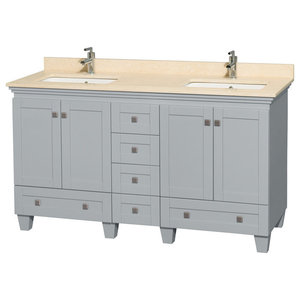 """60"""" Double Vanity, Oyster Gray, Ivory Marble Top, Square Sinks and No Mirrors"""