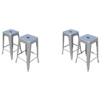 Industrial Metal Stackable Kitchen Dining Bar Stools, Gunmetal Iron, Set of 4