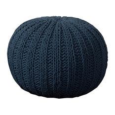 "Arey Isle Midnight Knitted Pouf Ottoman, 16""x20"""