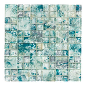 """12""""x12"""" Turquoise, Mixed Glass Tile"""