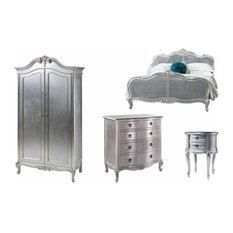 4 Piece Bedroom Set Super King Size Bed, Wardrobe, 5 Drawer Chest and Bedside