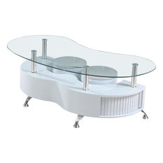 Glass Top Coffee Table With Nested Stools White Lacquer
