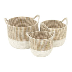 "White Seagrass Baskets With Handles, Set of 3: 18""x15"", 16""x13"", 13""x11"""