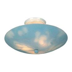 Kelvin Courtyard - 17 Inch 28.5W 3 LED Semi-Flush Mount  White Finish with