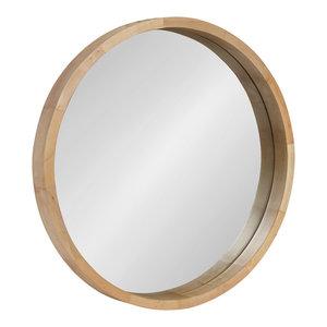 "Hutton Round Decorative Wood Framed Wall Mirror, Natural, 22"" Diameter"