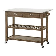 Burnham Home Designs Drop Leaf Stainless Steel Kitchen Cart Islands And Carts