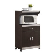 Hodedah Microwave Kitchen Cart in Chocolate Gray