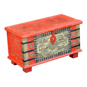 VidaXL Mango Wood Storage Chest, Red