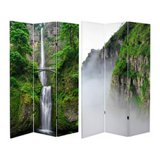 6' Tall Double Sided Mountaintop Waterfall Canvas Room Divider