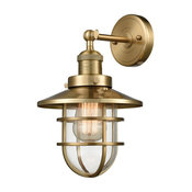 """Wall Sconce 1-Light With Satin Brass Clear Metal Glass, Medium, 8"""""""