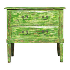 Distressed Light Green Lacquer Two Dresser Console Table Cabinet Hcs3642