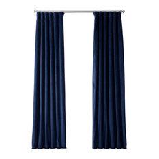 "Signature Blackout Velvet Curtain Single Panel, Union Blue, 50""x108"""
