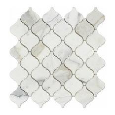 "Calacatta Mosaic Lantern Arabesque Tile, Gold, 12""x12"""