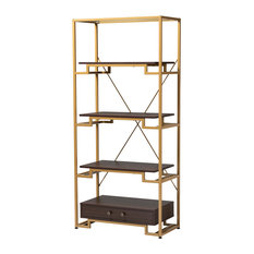 Jorie Contemporary Gold-Tone Steel and Brown Wood 3-Shelf Bookcase With Drawer