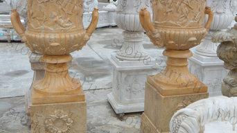 Вазы (вазоны) из натурального мрамора для ландшафта и интерьера