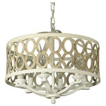 "Canyon Home - Canyon Home 6 Light Drum Chandelier (16"" Wide) Steel Frame - The right lighting and home decor are truly what turns a house into a home, especially when it comes to the overhead fixtures that bring it all together. That's especially true for this Canyon Home Drum Chandelier with 6 lights that features intricate design patterns, a charming beige, wood-brushed finish, and bright undertones that create unimaginable warmth."