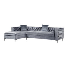 Jeannie Velvet Tufted With Nailhead Trim Sectional, Gray, Left Facing Chaise