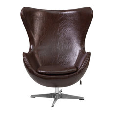 """Flash Furniture - Leather Egg Chair, Brown, 33.75""""x30""""x43"""" - Armchairs and Accent Chairs"""