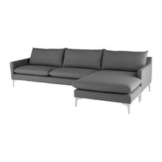 Anders Reversible Sectional Slate Gray Fabric/Brushed Stainless Legs