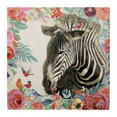 "Zebra Floral Hand Painted Canvas, 36""x36"""