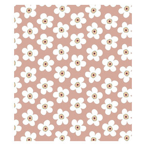 Lola Small Big Flower Rosewood PVC Tablecloth, 140x250 Cm