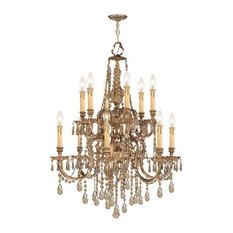 Crystorama Novella Ornate Cast Brass Chandelier Golden Teak