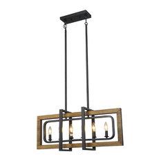 LNC 6-Light Pendant Lighting Candle Chandelier Lighting Wood Chandeliers