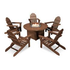 Folding Adirondack 6-Piece Conversation Fire Pit Table Set, Teak