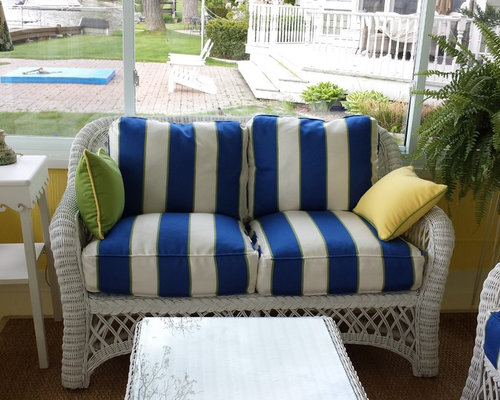 Blue and White Striped Cushions - Outdoor Cushions And Pillows